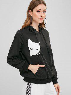Cat Print Pocket Pullover Hoodie - Black L