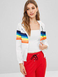 Hooded Striped Print Zip Jacket - White L