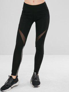 Mesh Panel Sport Yoga Leggings - Black S