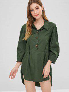 Half Button Shirt Dress - Dark Forest Green L
