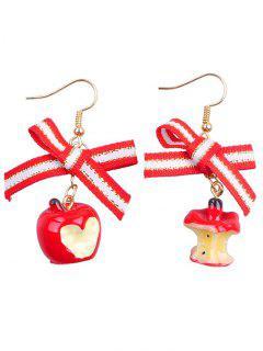 Bow Decor Fruit Design Christmas Earrings - Multi