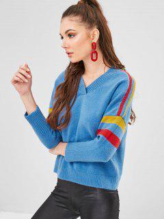 Schulterfrei V-Ausschnitt Gestreifter Pullover - Blau