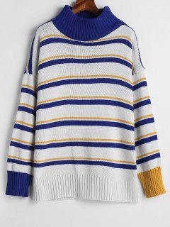 Striped Tricolor Oversized Sweater - Multi