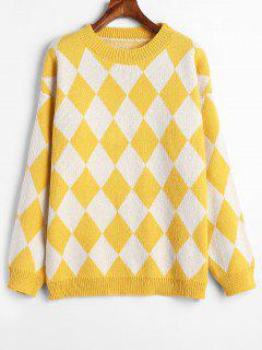 Argyle Jacquard Knit Drop Shoulder Sweater - Yellow