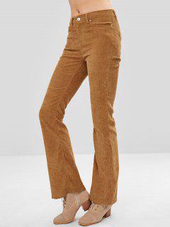 Solid Color Corduroy Bootcut Pants - Caramel M