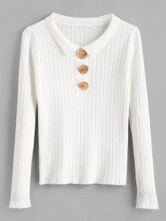 Botón Irregular Con Cuello Acanalado Suéter De Cuello - Blanco