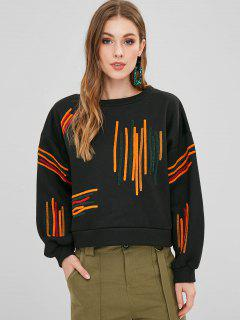 Colorful Striped Fleece Oversized Sweatshirt - Black S