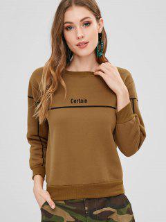 Stripe Letter Graphic Fleece Inner Sweatshirt - Brown M