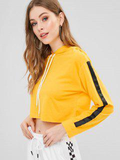 Tape Sleeve Cropped Hoodie - Bright Yellow M
