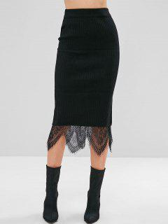Layered Lace Ribbed Sweater Midi Skirt - Black