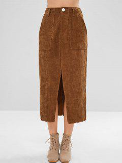 Patch Pocket Slit Midi Corduroy Skirt - Brown M