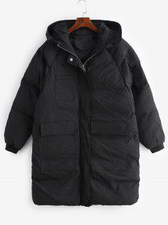 Manteau à Capuche Doudoune Long Matelassé à Manches Raglan - Noir M