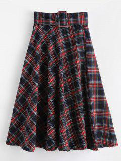 Plaid Zip Fly Flare Skirt - Red M