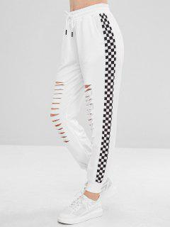 Checkerboard Side Slashed Joggers Pants - White S