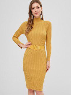 Side Slit Belted Sweater Dress - Golden Brown
