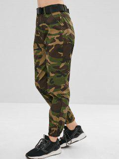 Pockets Camouflage Belted Pants - Woodland Camouflage L