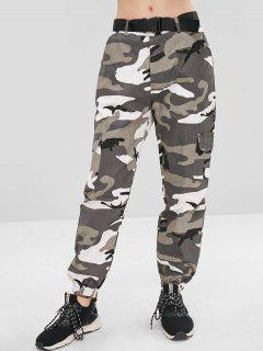 Pockets Camouflage Belted Pants - Acu Camouflage L