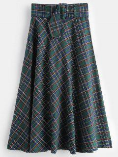 Plaid Zip Fly Flare Skirt - Green L