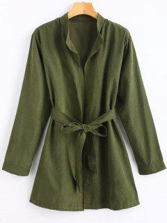Open Front Belted Thin Coat - Army Green S