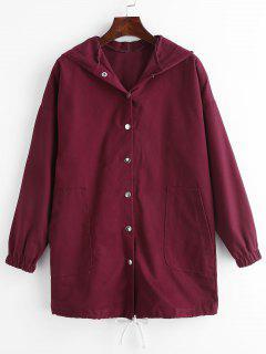 Pockets Hooded Snap Button Coat - Velvet Maroon M