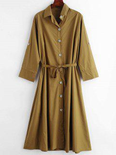 Vestido De Camisa De Un Solo Pecho De Color Sólido - Marrón Roble S