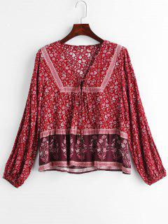 Blumendruck Kleine Bell Emblelled Lace Up Bluse - Multi M