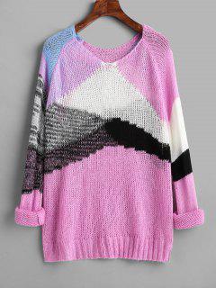 Color Block Raglan Sleeve Open Knit Sweater - Multi
