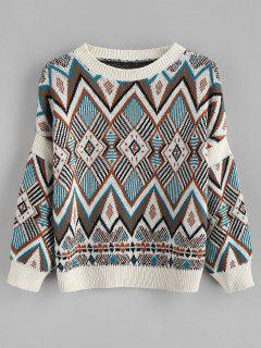 Diamond Pattern Knitted Sweater - Multi