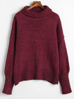 Mixed Oversized Turtleneck Sweater - Red Wine