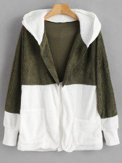 Pockets Two Tone Hooded Fuzzy Coat - Multi-a M