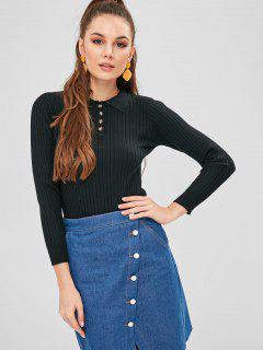 Polo Collar Ribbed Slim Sweater - Black