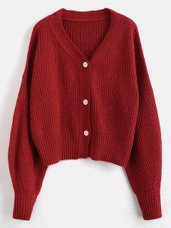 Cuello Suelto Con Cuello En V Hasta Cardigan - Rojo Cereza