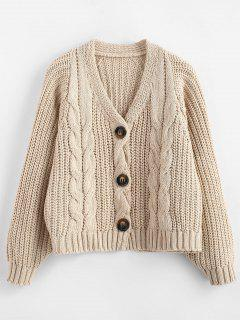 Chunky Button Up Cable Knit Cardigan - Apricot