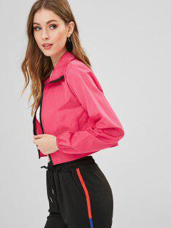 Zip Front Crop Windbreaker Jacket - Deep Pink S
