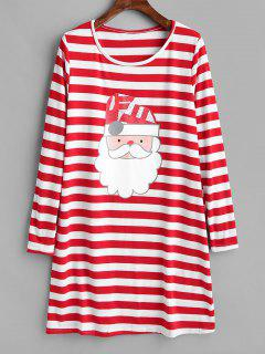 Christmas Striped Santa Print Dress - Multi L