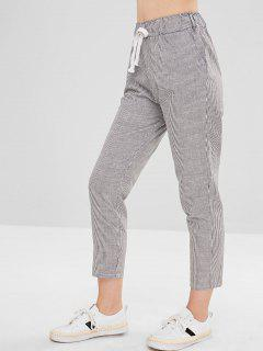Stripes Drawstring Straight Pants - Black L