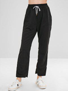 Pockets Plain Straight Pants - Black L