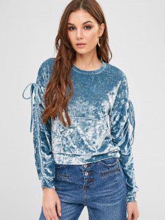 ZAFUL Pouch Pocket Crushed Velvet Sweatshirt - Blue Ivy M