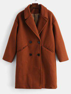 Double Breasted Plain Lapel Coat - Chestnut Red M