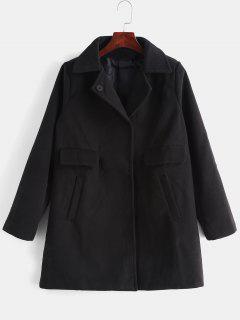 Bouton Pression Manteau De Couleur Unie - Noir 2xl
