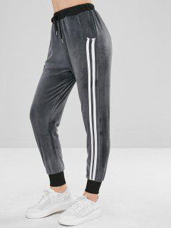 Pantalon De Jogging à Rayures Latérales Et Velours - Gris Carbone L