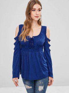 Camiseta Con Cordones Enrejado - Azul Xl