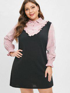 Ruffles Corduroy Panel Plus Size Dress - Black 4x