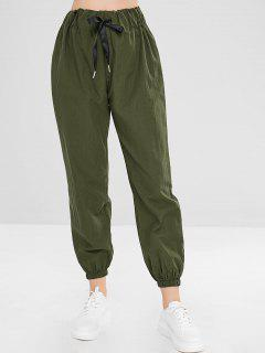 Plain High Waisted Jogger Pants - Army Green M