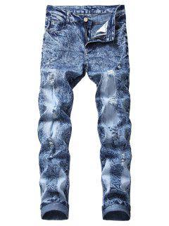 Vintage Ripped Wrinkles Faded Jeans - Denim Dark Blue 32