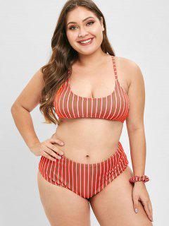 ZAFUL Striped Plus Size Bikini Set With Hair Band - Red 3x