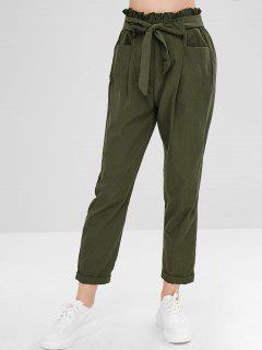 Belted Cuffed Straight Pants - Army Green S