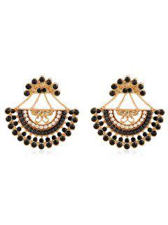 Rhinestone Inlaid Beaded Stud Earrings - Black