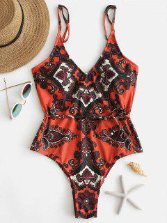 ZAFUL Retro Printed One Piece Swimsuit - Papaya Orange M