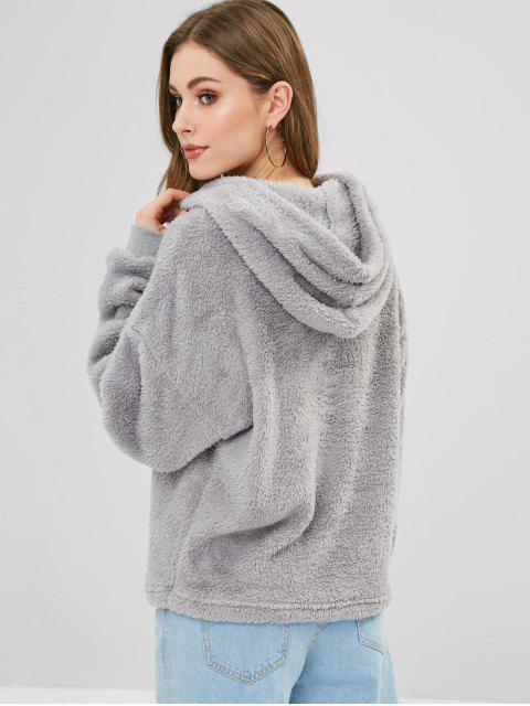 women ZAFUL Fluffy Faux Shearling Teddy Hoodie - GRAY CLOUD L Mobile